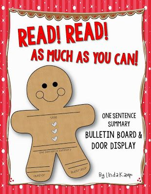 A cute, quick and easy holiday hallway display!  Gingerbread man one sentence summaries! Includes the display title lettering, too! *FREEBIE*