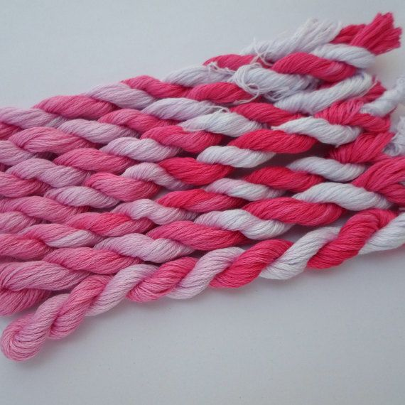 Sweetie Pie was requested by one of my favourite customers, bright pink blending down to pale pink and pure white.  This is my hand dyed thread on