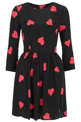 TOPSHOP Long Sleeve Heart Flippy Dress