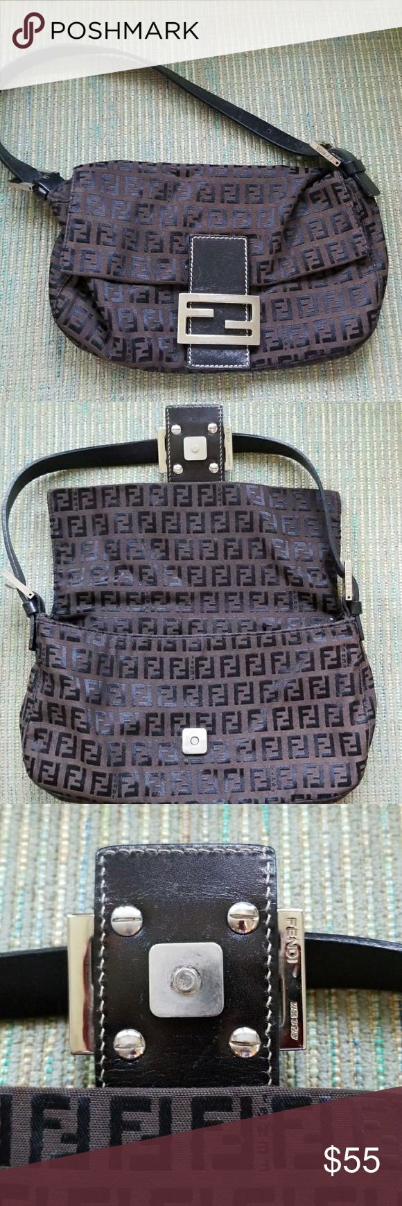 Authentic FENDI Baguette Very well-maintained authentic dark-brown Fendi baguette with silver hardware and logo zucca pattern. BEST PRICE ON POSH!  Great condition. Minor scuffing on front hardware. Fendi Bags