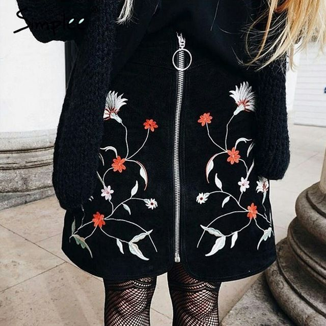 Simplee Embrodiery цветок высокой талии юбки женщин Замши черная короткая юбка лето 2017 Vintage передняя молния мини-юбки