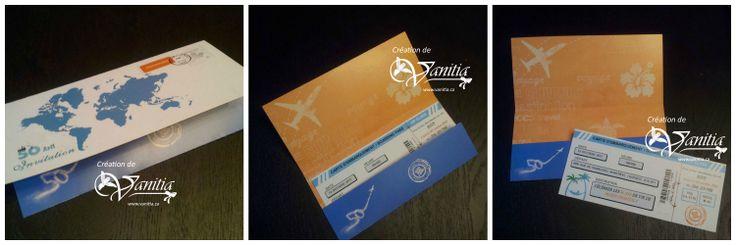 Invitation sous forme de billet d 39 avion avec sa pochette for Robes pour le 50e anniversaire de mariage