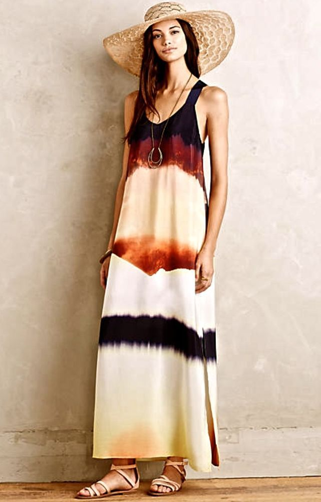 NEW Anthropologie HD in Paris black tan brown Silk Ombre Maxi Dress Petite 2  #HDinParis #silkmaxidress #versatile