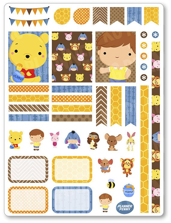 Honey Bear Decorating Kit / Weekly Spread Planner Stickers for Erin Condren…