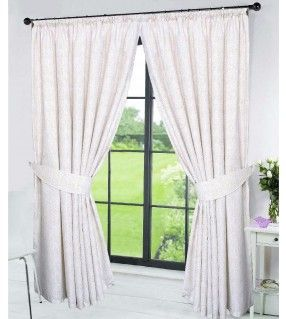 PENCIL PLEAT LINED THERMAL WHITE AND BEIGE CHEVRON CURTAINS– MIAMI - from £14.95