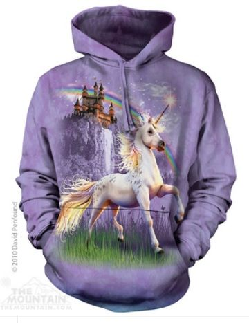 Castle Unicorn Adult Hoodie. Made in USA.