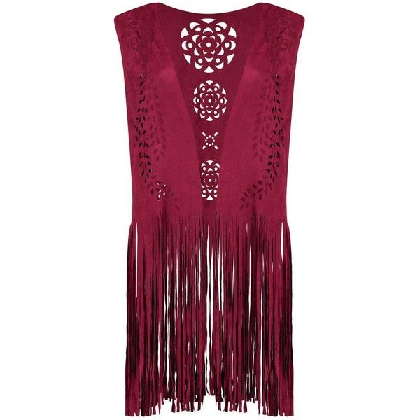 Ava Fringed Suedette Festival Waistcoat ($2.82) ❤ liked on Polyvore featuring outerwear, vests, purple vest, fringe vest and waistcoat vest