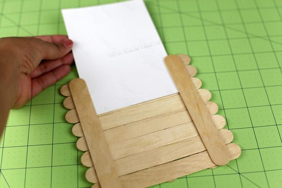 Step4 easy step by step from fiskars craft stick picture for Popsicle picture frame crafts