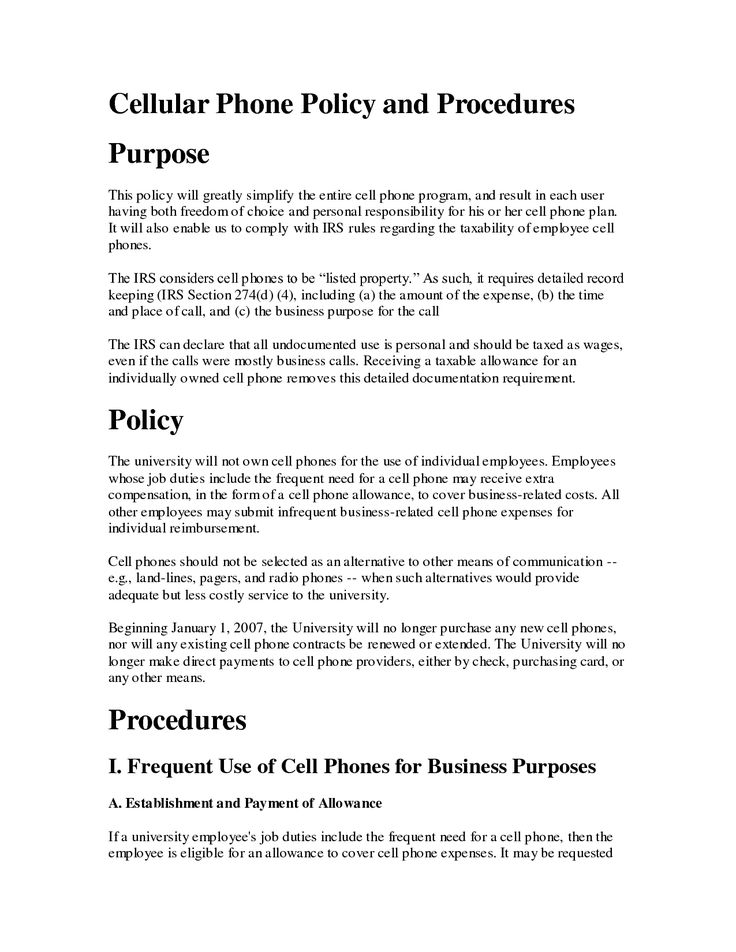 Printable Sample Cell Phone Policy Form Laywers Template