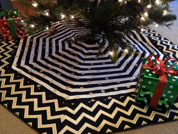 large black gold white chevron and stripe octagon christmas tree skirt by miladycreations on etsy - Large Christmas Tree Skirts