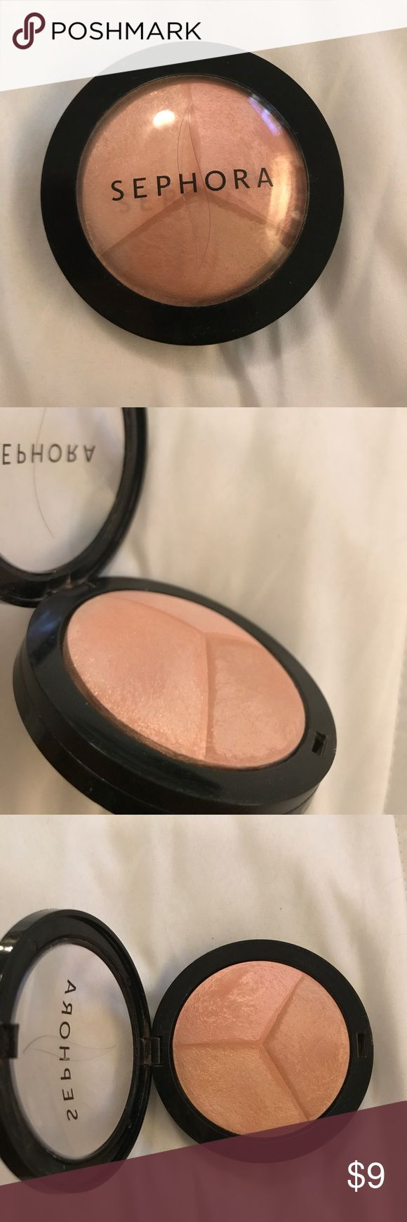 MicroSmooth Baked Sculpting Contour Trio Highlight Highlight by Sephora pink rose, beige, light pink/rose clair used a couple of times but still has a lot of product so it almost looks new Sephora Makeup Luminizer