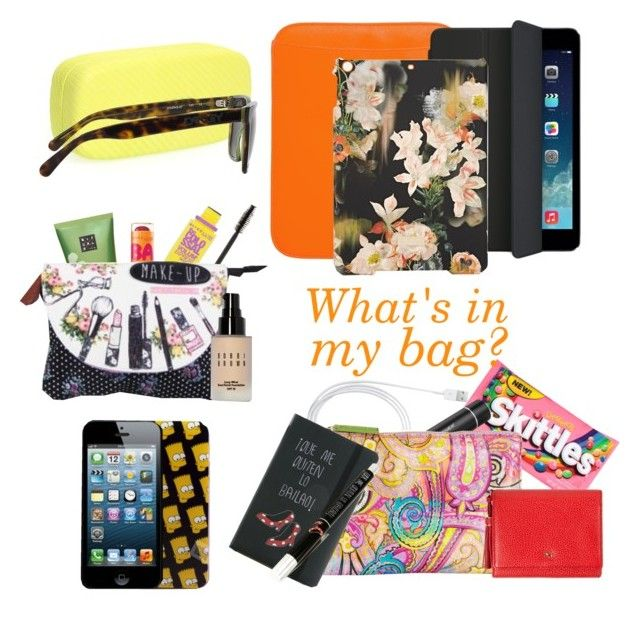 """""""What's in my bag?"""" by little-misscherry ❤ liked on Polyvore featuring ASOS, Ted Baker, Caso, Maybelline, Rituals, Samsung, Etro, Oakley, CO and Bobbi Brown Cosmetics"""