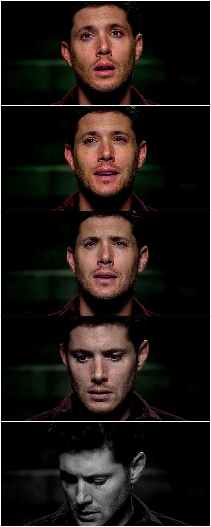 His face... :( The 180 degree change in his appearance was astounding. Not just his facial expression and his eyes, but the body language. He was Dean once more. 10x03 Soul Survivor #SPN #Dean