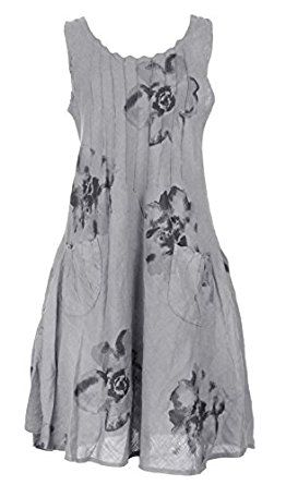 TEXTURE ONLINE Ladies Womens Italian Lagenlook Quirky Layering Sleeveless Floral Print Pintuck 2 Pocket Linen Tunic Dress UK Size S M L XL: Amazon.co.uk: Clothing