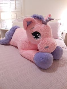 "More Giant Stuffed Animals Fast & Free Shipping! (3- 8 Business Days) 40""Huge.So cute, very soft and cuddly floppy pink and lavender purple unicorn pony Just in time for Christmas. Make happy your lit"