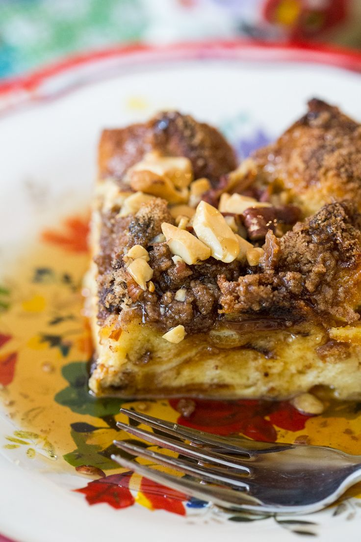 Panettone French Toast Casserole with Crushed Walnut Streusel