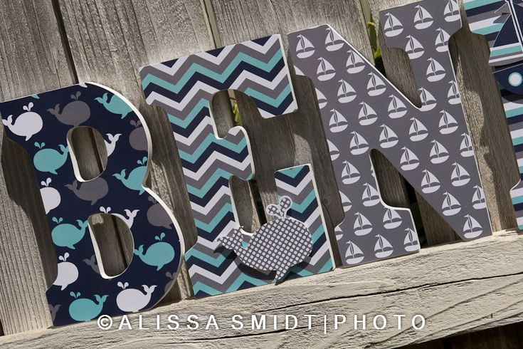 Custom Nursery Wooden Letters, Baby Boy or Baby Girl Nursery - Nautical Theme Custom Letters (whale, boat, anchor) 9 inch size by WanderlustbyAlissa on Etsy