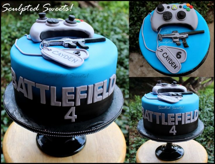XBOX Battlefield 4 cake with fondant handmade toppers.