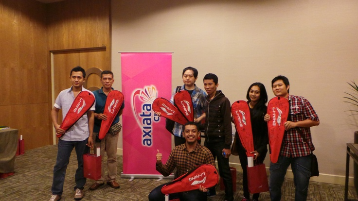 The Axiata Cup Quiz Winners received a surprise autographed Li-Ning Badminton Racket!