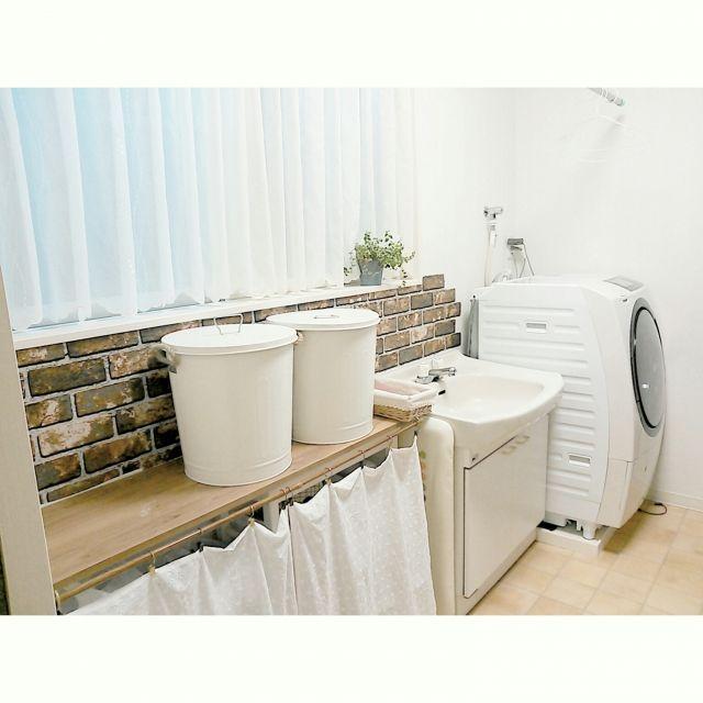 rankoさんの、ランドリールーム,洗濯物干しスペース,サンルーム,洗濯機,ニトリインテリアペーパーモニター,インテリアペーパー,ニトリ,ベッド周り,のお部屋写真