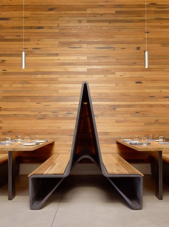 Bar Agricole, designed by Aidlin Darling Design is located in San Francisco's industrial South of Market district. The design was inspired by the sustainable agricultural roots of the restaurant's artisanal food and cocktail menu. It's currently in the process of becoming LEED certified.