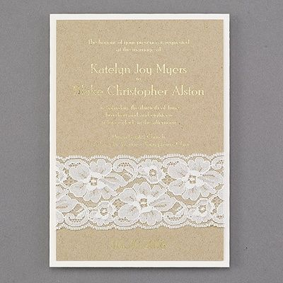 Kraft Paper Gold Foil And Real Lace Combine For A Rustic Wedding Invitation Thats Unique Pretty The Layers Add To Look