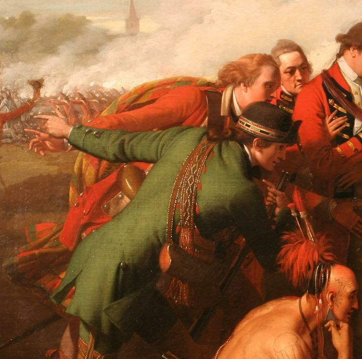 "Simon Fraser.  Only known contemporary likeness of Colonel Simon Fraser who commanded the 78th Fraser Highlanders, the largest regiment in Wolfe's Army at  Quebec (red-haired gent in kilt leaning forward).  Detail from the famous ""Death of Wolfe"" painting by Benjamin West."