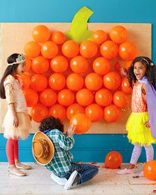 Put candy inside the balloons and have the kids throw darts.  This beats the heck out of pin the tail on the donkey!: Party Games, Halloween Parties, Birthday Parties, Pumpkin, Parties Ideas, Halloween Games, Kids, Balloon, Parties Games