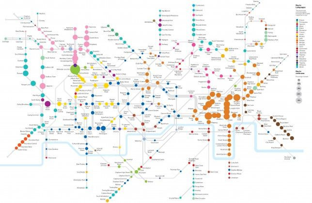 This amazing map shows London's most common second languages