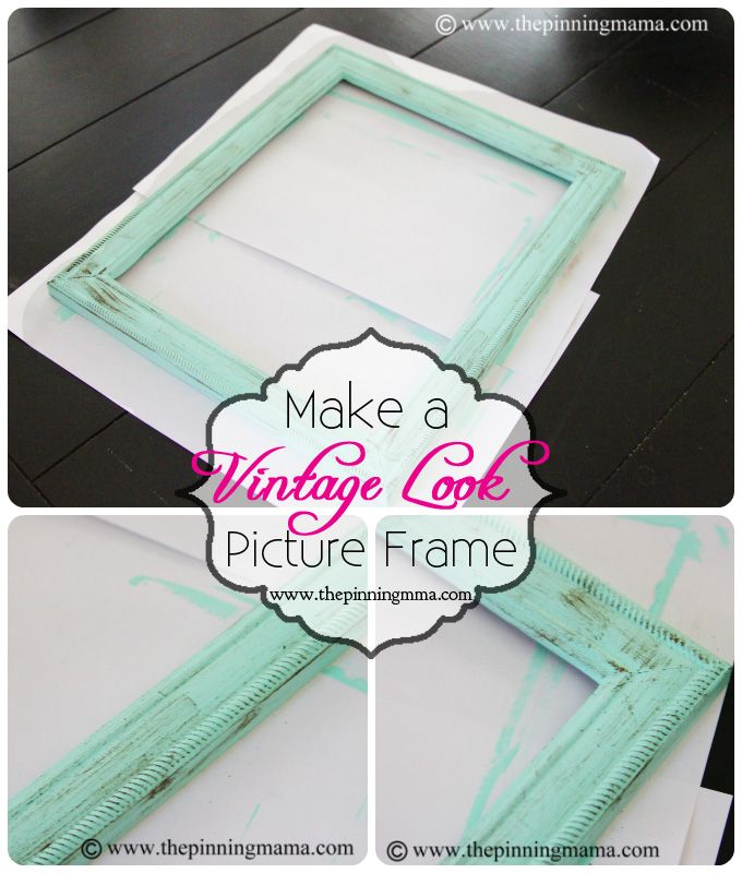 how to make a vintage picture frame with dry brush technique