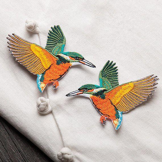 1 coppia ricamo uccello Patch Patch ricamati di uccello