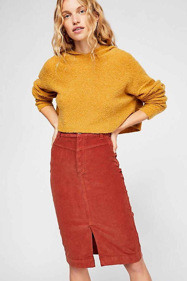 9c5dc5fa622d Rosemary Cord Skirts - Red Orange Corduroy Pencil Skirt with Small Front  Slit
