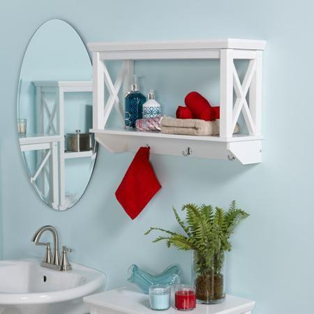 riverridge xframe wall shelf with hooks white