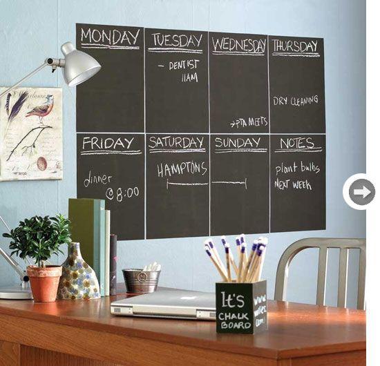 parede de lousa p/ home office, com calendário