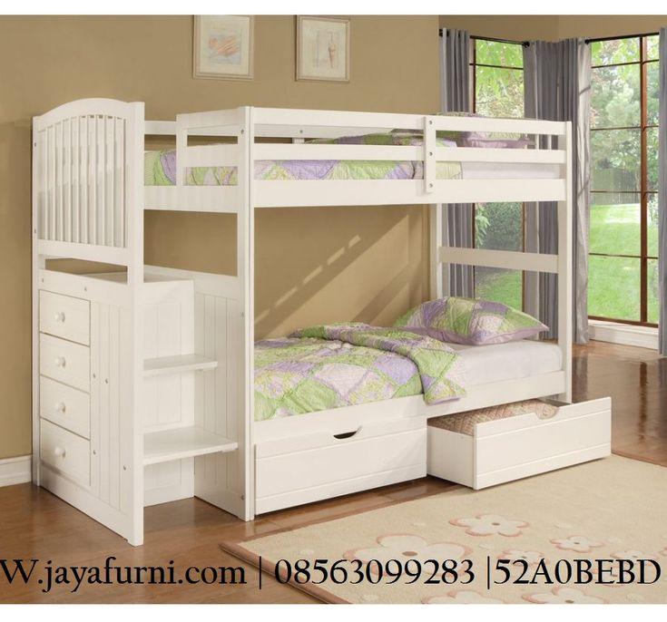 Jual tempat tidur tingkat laci 2 untuk anak dengan model minimalis simpel lengkap dengan 2 laci / sosrong di bagian bawah dan bagian samping , harga murah