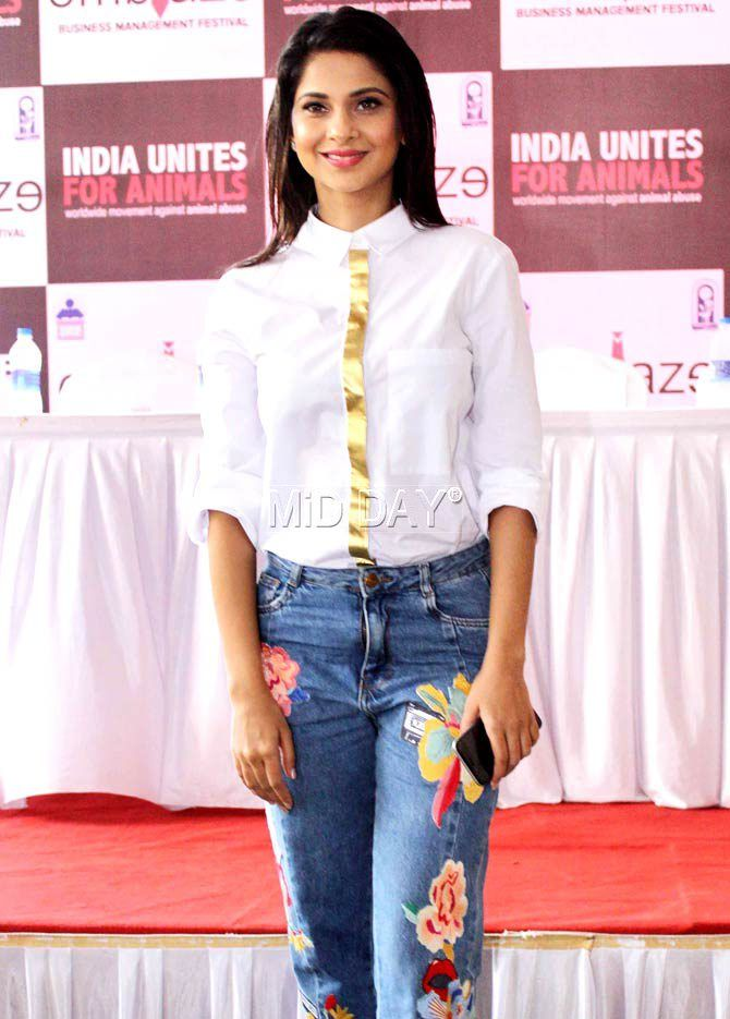 Jennifer Winget at an event in Mithibai College in Mumbai. #Bollywood #Fashion #Style #Beauty #Hot #Sexy
