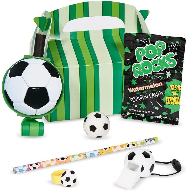 Every petite punter will love these soccer party favor boxes! #Party #Favors #Soccer #Birthday