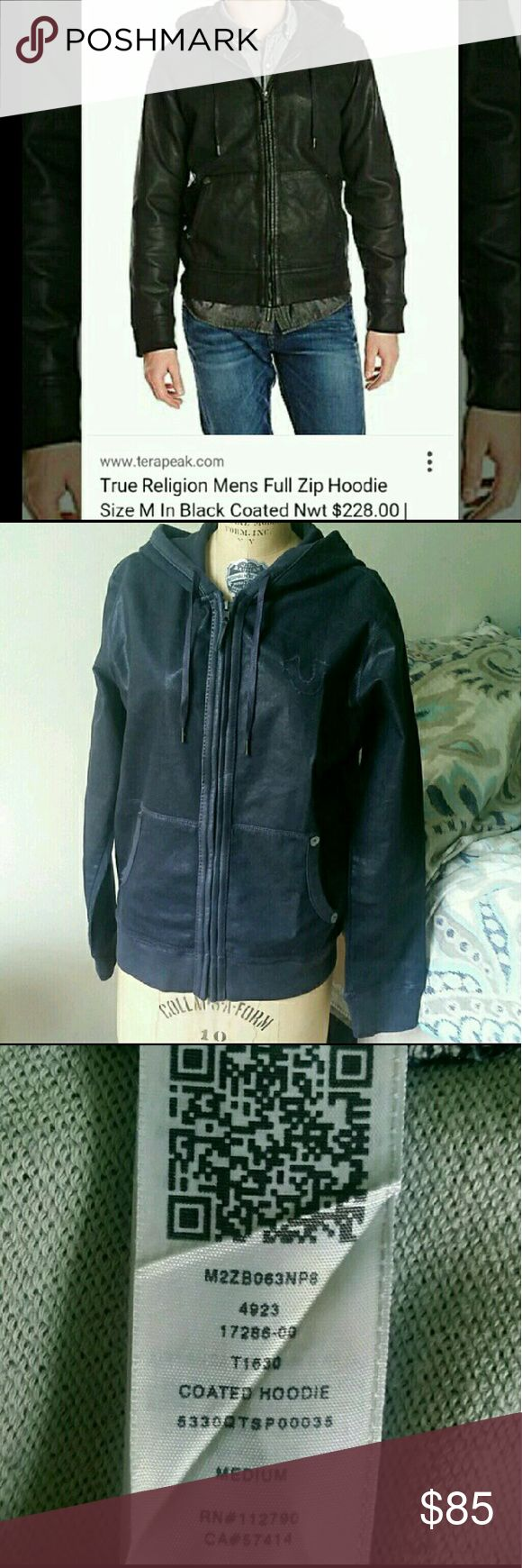 True Religion full zip Coated Hoodie True Religion full zip Coated Hoodie NWOT  SIZE MEDIUM  No rips, tears, scuffs, holes. No sign of wear all tags are clean.  Comfortable and semi waterproof due to the coating.  This is a quality piece, dark blue, so you can wear with anything.  NO LOW BALL OFFERS!!! **pictures will be taken before shipping to insure quality for the customer and myself ** True Religion Jackets & Coats