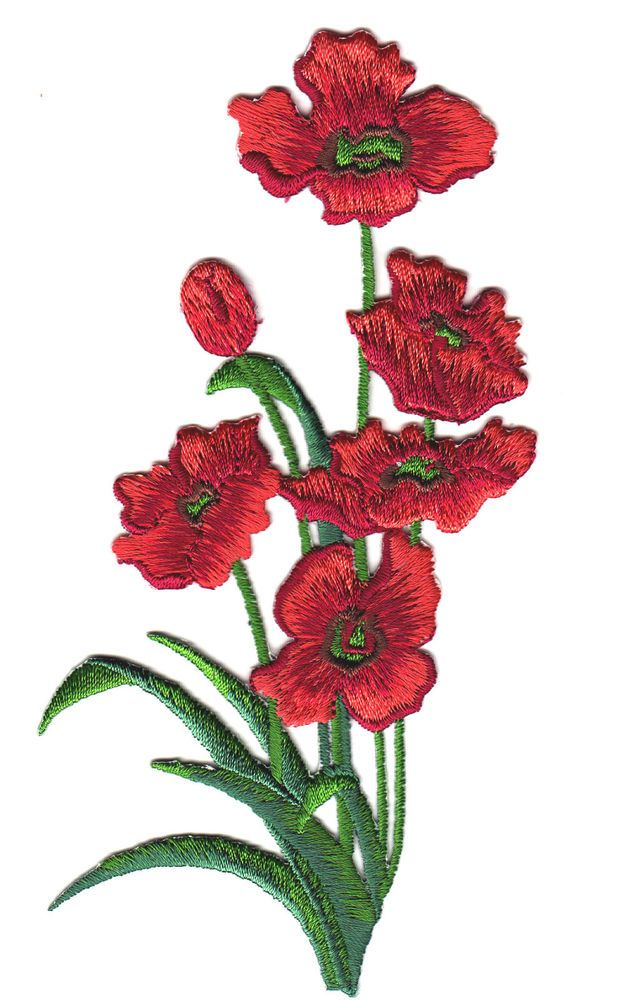 POPPIES, RED w/GREEN LEAVES(Lg-5 3/4 )- Iron On Embroidered Applique/ Flowers