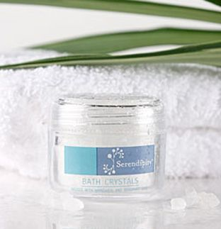 Serendipity Bath Crystal Pot Infused with Mandarin and Bergamot, your guest can relax and replenish after a long day by soaking in beautifully scented bath or #spa. (Available in 40gm pots) #bathcrystals