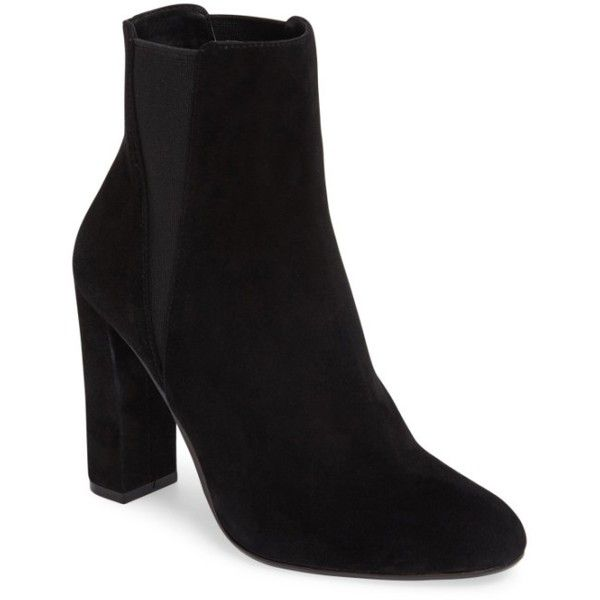 Women's Steve Madden Effect Block Heel Bootie ($87) ❤ liked on Polyvore featuring shoes, boots, ankle booties, black suede, suede ankle boots, suede booties, black booties, black boots and ankle boots