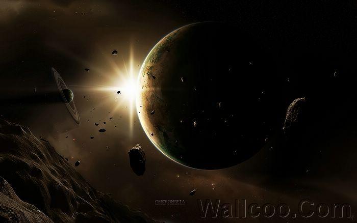 Sci-Fi Space Arts : Masterpieces Sci-Fi Digital Artworks - HD Space  Art : Omicron Beta,  light of planet, 1920*1200 24