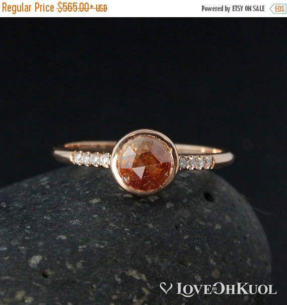 ON SALE Rose Cut Peach Diamond Ring - Rose Gold - Boho Brides by lovebyohkuol on Etsy https://www.etsy.com/listing/467390790/on-sale-rose-cut-peach-diamond-ring-rose