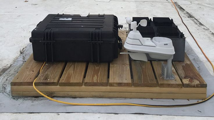 The thermal resonator weather station sits on the roof of an MIT building, generating power through...