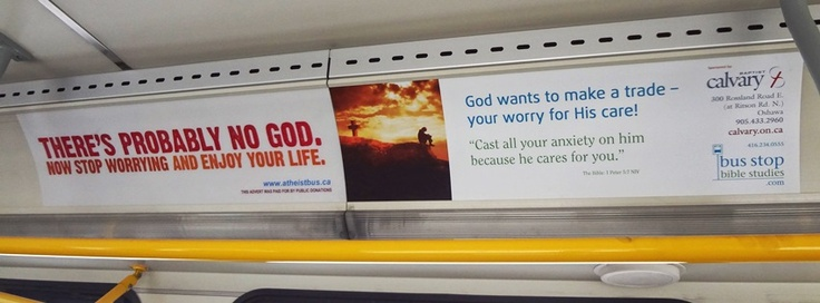 Bus Stop Bible Studies and a message of hope.  Atheist Bus Campaign - don't worry be happy because there's no hope if you're not.
