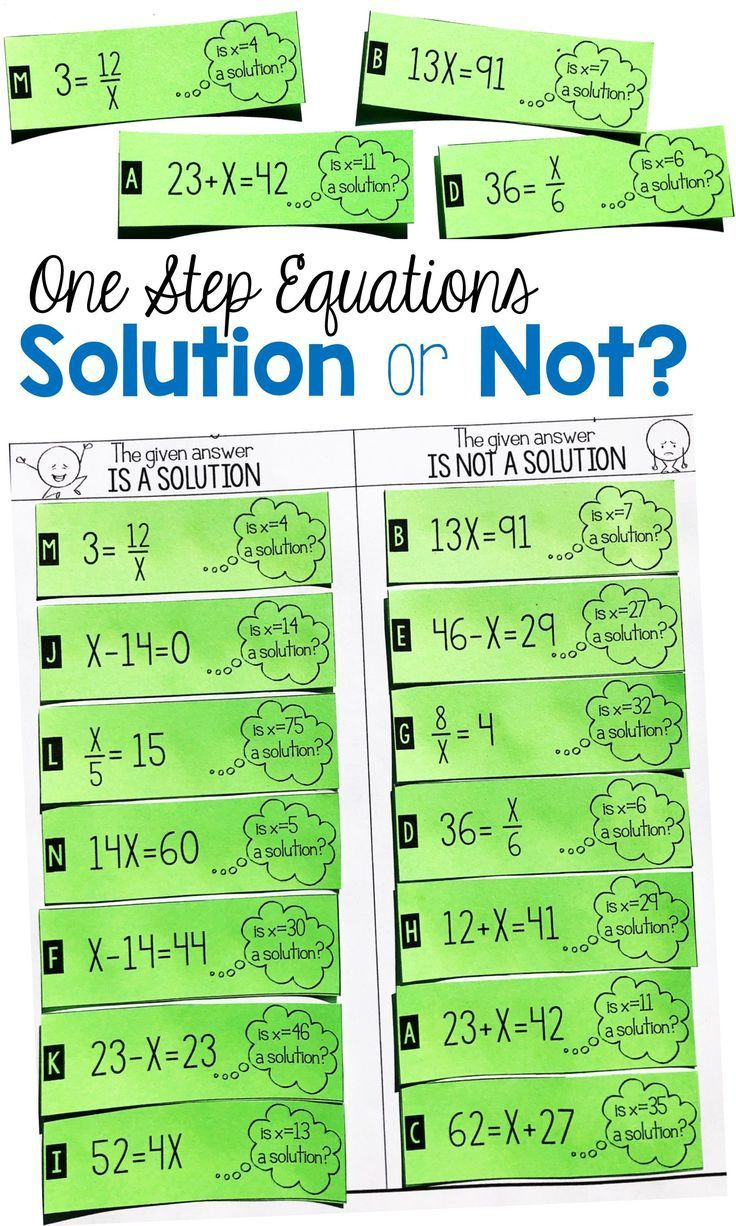This One Step Equation Solution Or Not Card Sort Activity Is The Perfect Project To Get Your 6th Grade In 2020 One Step Equations Equations Solving Equations Activity