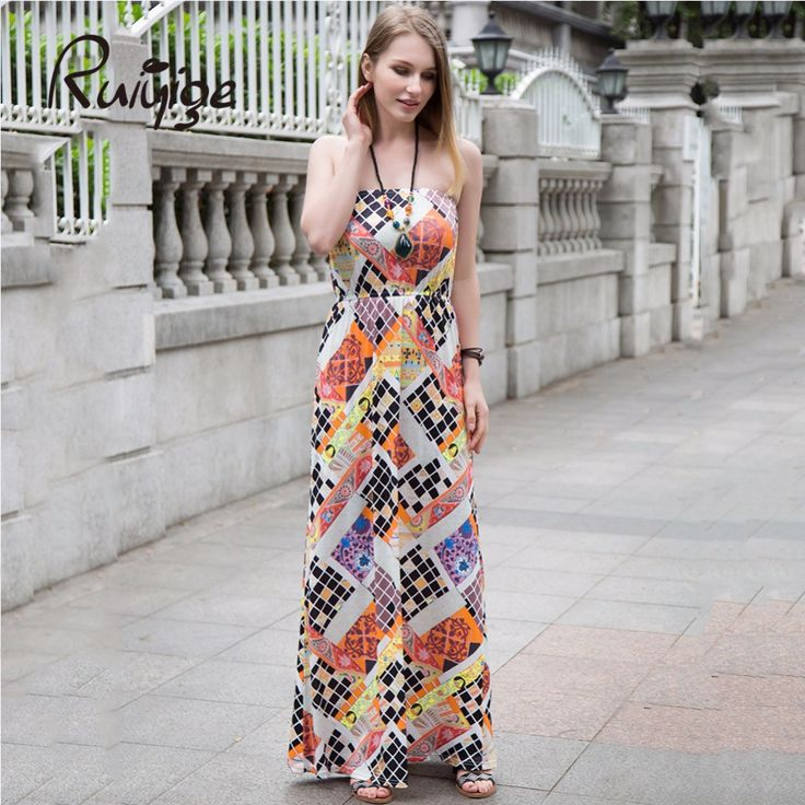 2017 Maxi Beach Dress Women Multicolor Boho Robe Print Strapless Long Dresses Casual Party Holiday Work Summer Femme Vestitos #Affiliate