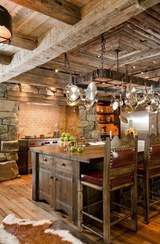 moderne landhausküchen kiefer balken