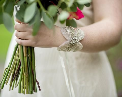 Wedding Cuff, Appliqué with Rhinestone, Maggie