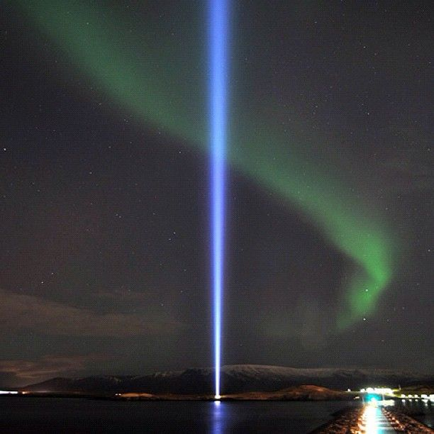 Images of broken light which dance before me like a million eyes - The #NorthernLights are bright tonight in #Iceland - 14 November 2012  #ImaginePeace #Reykjavik #ImaginePeaceTower #Wish #JohnLennon #Fridarsulan #YokoOno #Iceland #Imagine #Videy